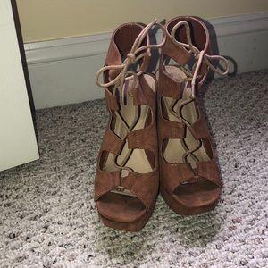 Tan lace up platform heels